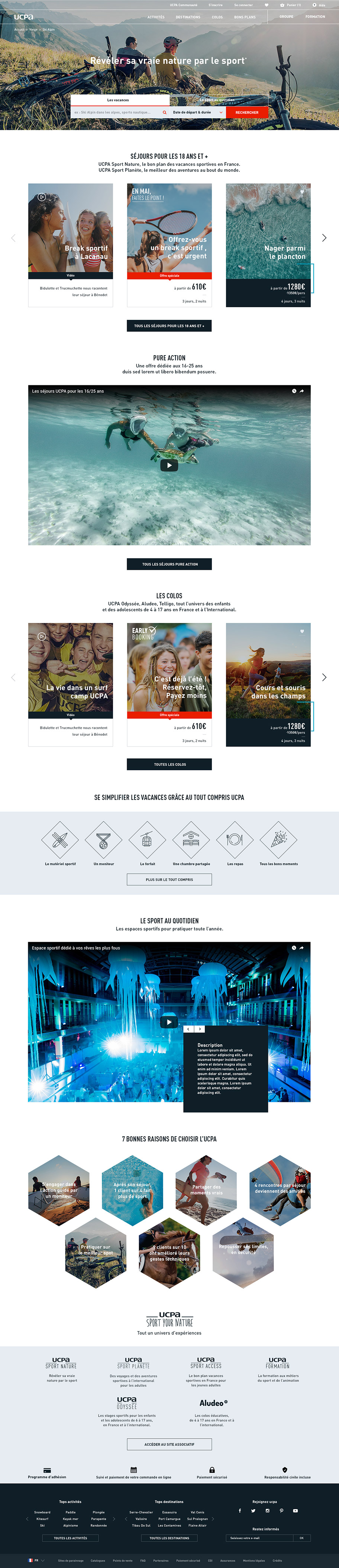 UCPA Site e-commerce homepage adultes