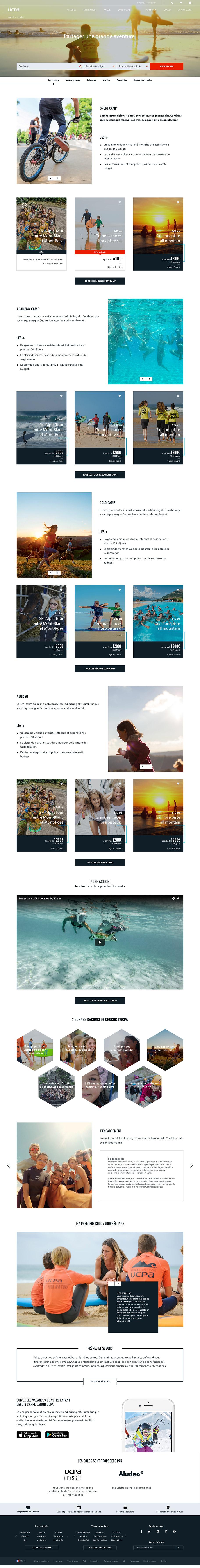 UCPA - Site e-commerce homepage mineurs